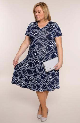 Rozkloszowana sukienka kropkowa geometria