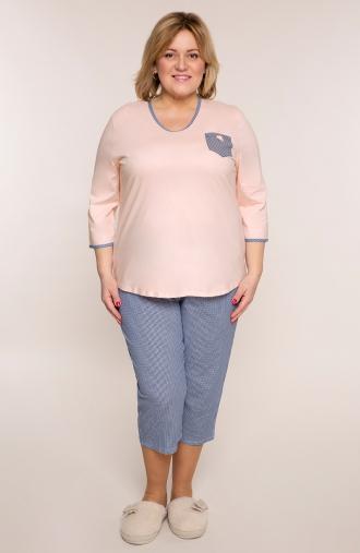 Koralowa piżama z kraciastymi spodniami