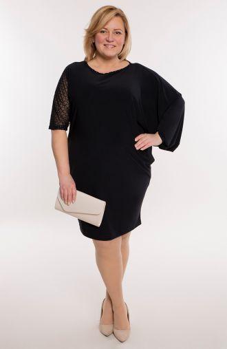 Czarna asymetryczna sukienka z dżetami