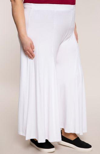 Białe spódnico-spodnie z dzianiny