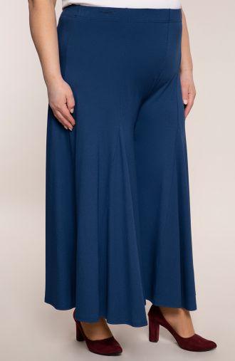 Niebieskie spódnico-spodnie z dzianiny