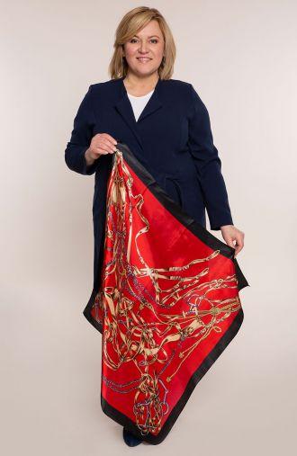 Czerwona apaszka w paski i łańcuchy