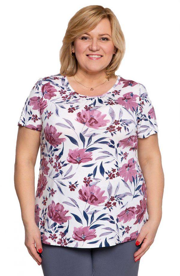 Bluzki damskie duże rozmiary - mleczna bluzka w fiołkowe kwiaty