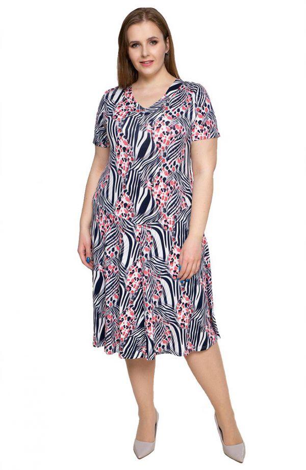 Rozkloszowana sukienka w zeberkę