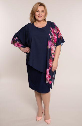 Asymetryczna sukienka amarantowe róże