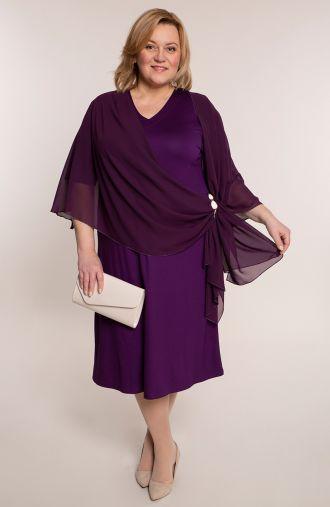 Fioletowa sukienka z narzutką