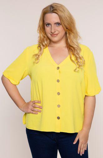 """Lekka żółta bluzka z dekoltem -<span data-sheets-value=""""{&quot;1&quot;:2,&quot;2&quot;:&quot;moda plus size&quot;}"""" data-sheets"""