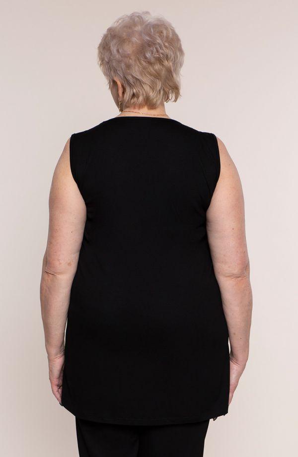 Czarny kostium z szarą koronką