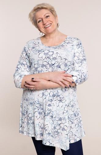 Asymetryczna tunika zimowe kwiaty - odzież plus size