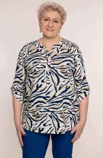 Lekka bluzka beżowa zebra
