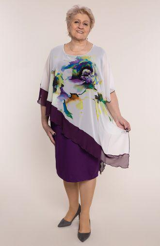 Asymetryczna sukienka fioletowy kwiat