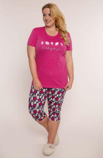 Różowa piżama w liście