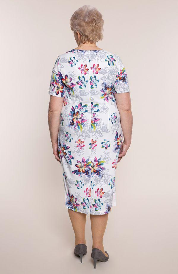 Sukienka z krótkim rękawem delikatna wiosna- tanie sukienki plus size