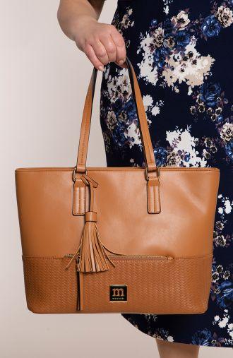 Brązowa torebka z plecionką Monnari