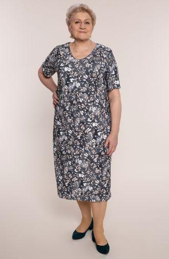 Sukienka w prążki beżowe pnącza
