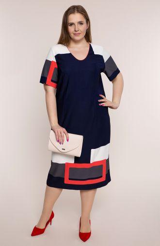 Granatowa sukienka z kolorowymi wstawkami