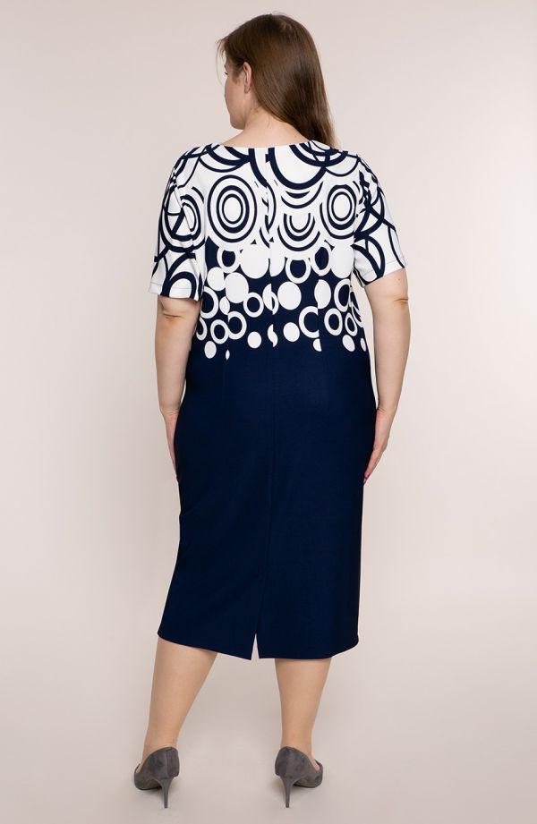 Granatowa sukienka ze wstawkami w okręgi