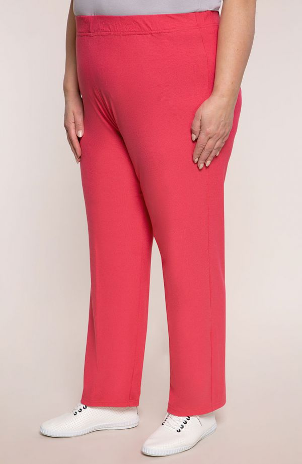 Lekkie spodnie damskie plus size w różowym kolorze