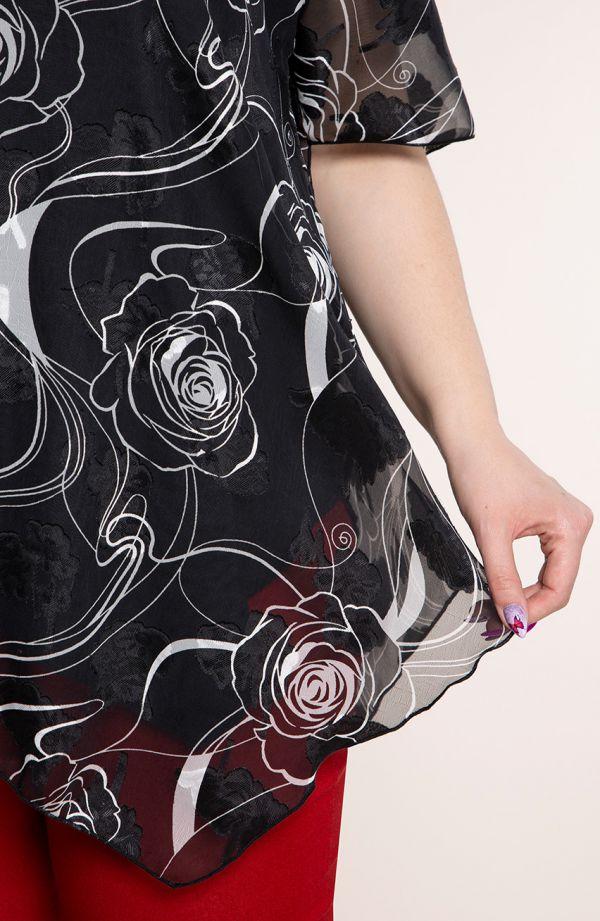 Asymetryczna tunika biała róża