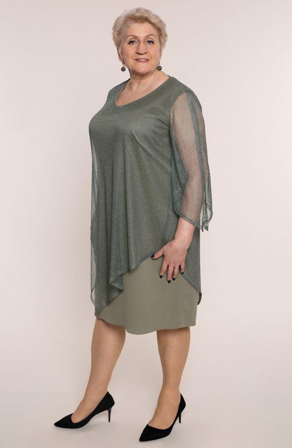 Oliwkowa sukienka z siateczkową narzutką