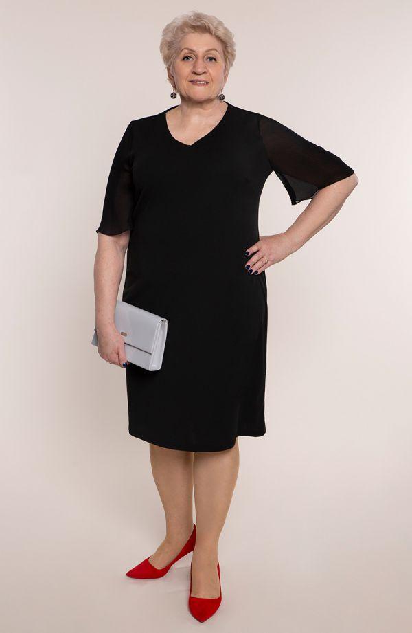 Czarna sukienka z szyfonowymi rękawami