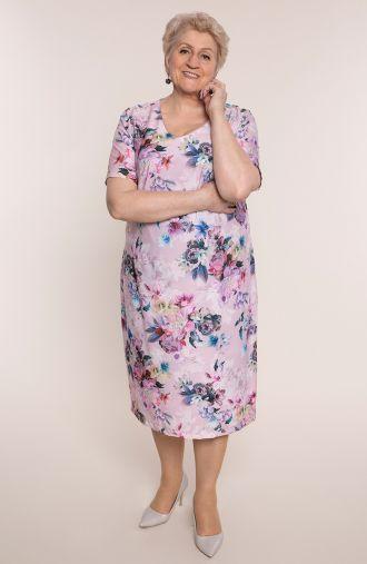 Sukienka z krótkim rękawem ogród piwonii