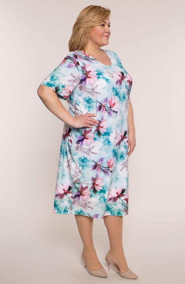 Sukienka z krótkim rękawem błękit kwiatu