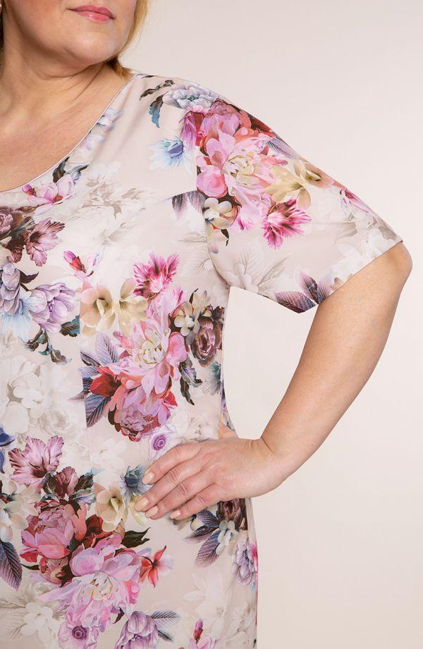 Sukienka z krótkim rękawem różowe kwiaty