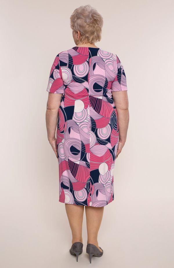 Sukienka z krótkim rękawem różowe zawijasy