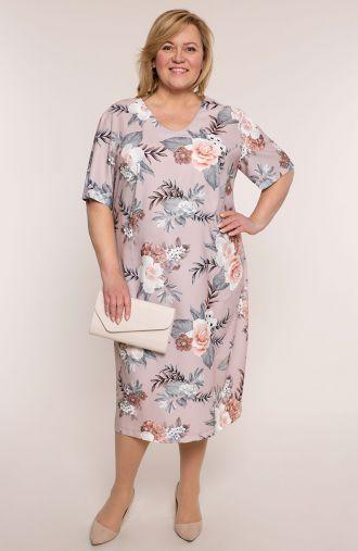 Sukienka z krótkim rękawem różowe bukiety