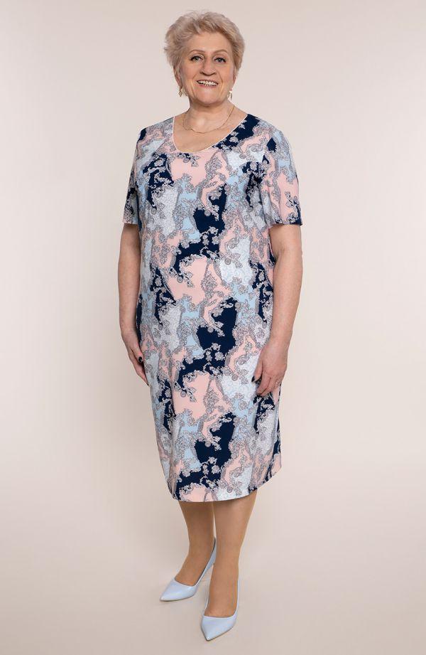 Sukienka z krótkim rękawem w ornament