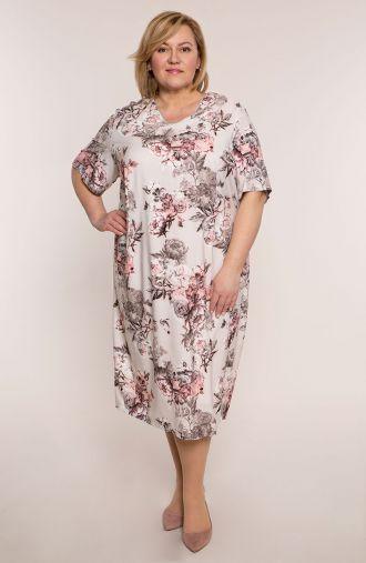 Sukienka z krótkim rękawem pudrowe róże