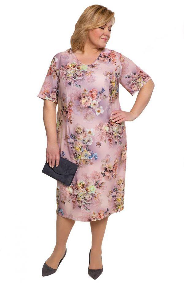 Sukienka z krótkim rękawem różane bukiety