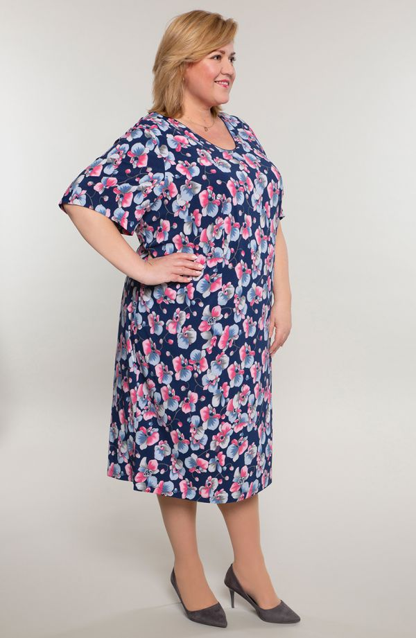 Sukienka z krótkim rękawem różowy groszek
