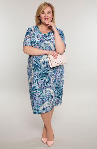 Sukienka z krótkim rękawem barwny ornament