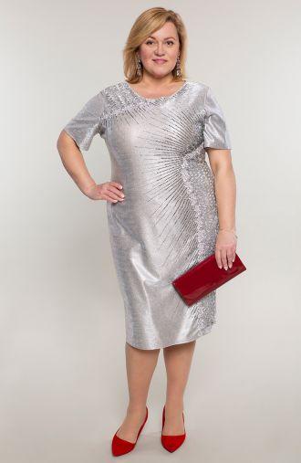 Srebrna weselna sukienka w srebrne dżety