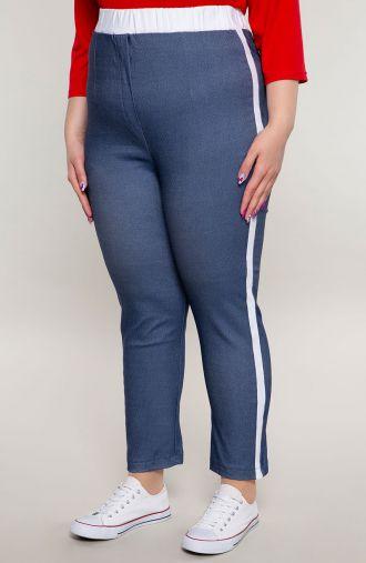 Jeansowe spodnie z białym lampasem
