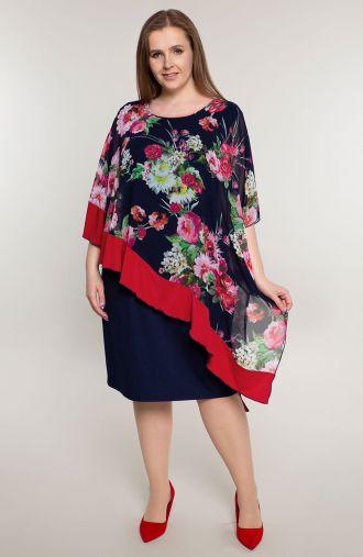 Asymetryczna sukienka różane bukiety