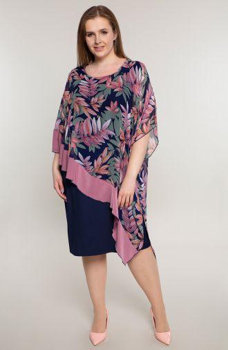 Asymetryczna sukienka różowe liście