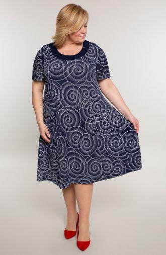 Rozkloszowana sukienka kosmiczne ślimaki