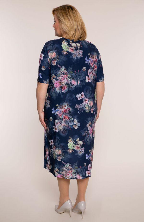 Sukienka z krótkim rękawem bukiety kwiatów