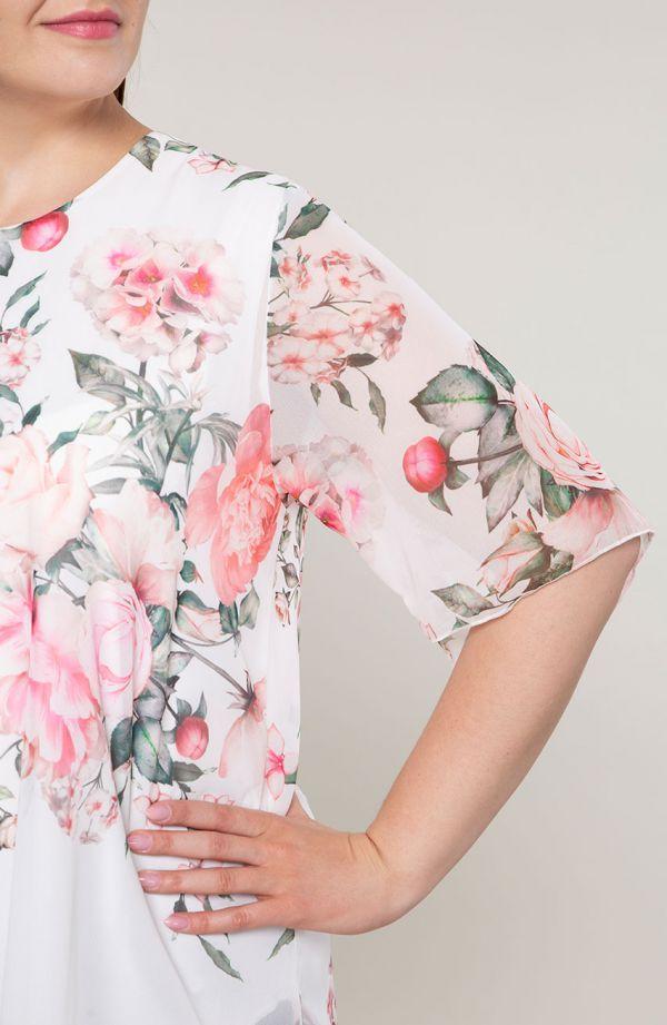 Asymetryczna tunika romantyczny bukiet