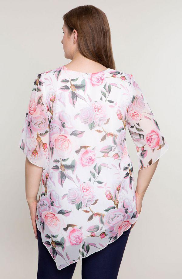 Asymetryczna tunika różane bukiety
