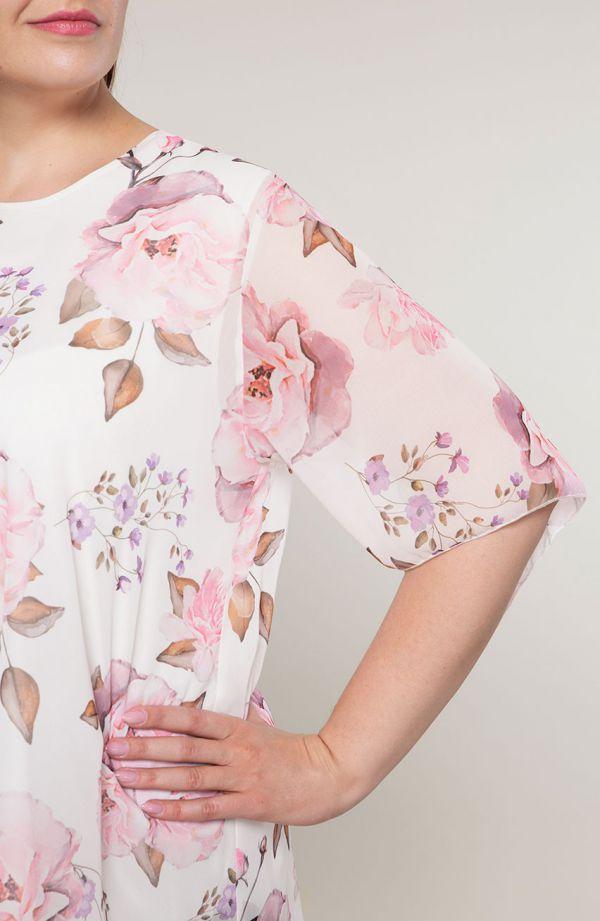 Asymetryczna tunika liliowe kwiaty