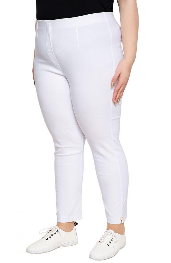 Białe spodnie plus size 7/8 z wysokim stanem