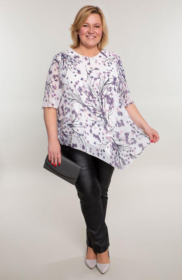 Asymetryczna tunika fioletowe gałązki