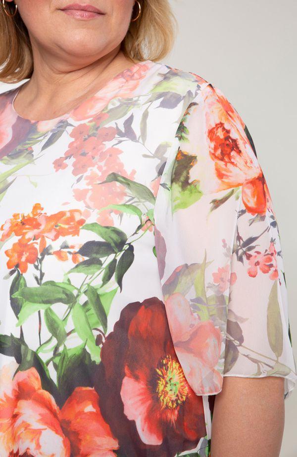 Tuniki damskie - asymetryczna tunika czerwony ogród