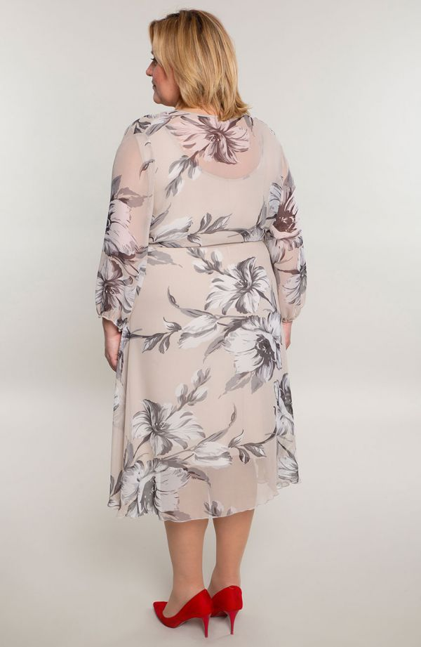 Kopertowa sukienka z kwiatowego szyfonu