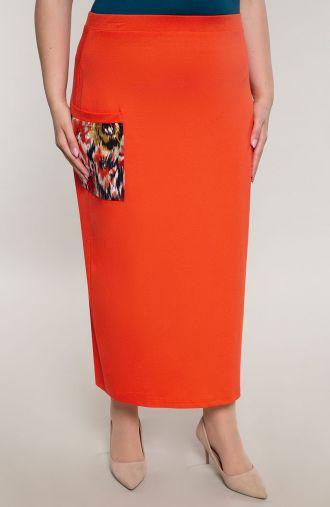 Pomarańczowa długa spódnica z kieszonką