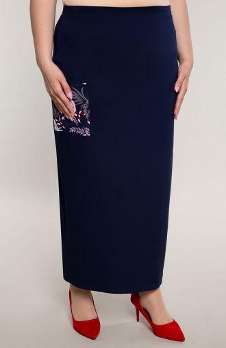 Granatowa długa spódnica z kieszonką